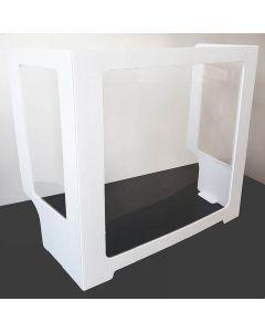 Three sided economy desk shield made of PETG with Coroplast Edge