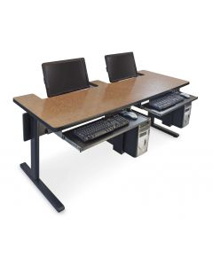 Bi-level recessed monitor table for two users