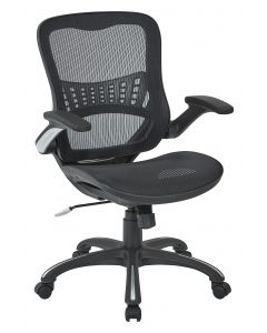 Mesh Seat and Back Manager's Chair Black Breathable mesh seat and back Padded flip arm and dual wheel carpet casters
