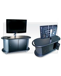 Pneumatic Monitor lift and cabinet with large screen two views front and back