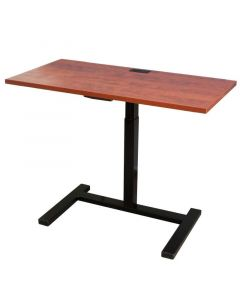 Pneumatic sit to stand computer table with power and data