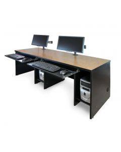 Computer desk for two users with CPU bays and keyboard trays