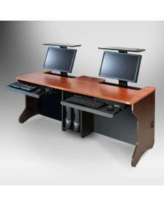 Motorless monitor lift computer desk in wild cherry finish for two people