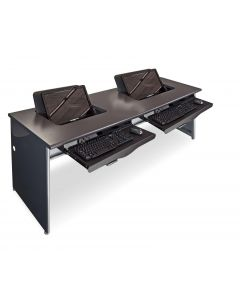 Thermofoil top metal base computer desk for two people with keyboard trays and hideaway monitor mount