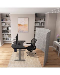 Gray Smartdesk with Gray Privacy Screen Aerial View