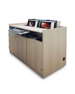 Multimedia Podium Lectern with 2 recessed monitors keyboard tray and 3 locking cabinet doors in wood grained laminate