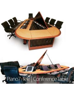 Wood edge and veneer Conference Table for 7-9 users with concealed monitor mounts cpu storage and lid open for wire management