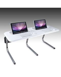 Semi-recessed white table for two iMac computers
