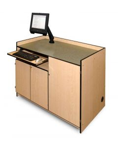 Multimedia Podium with Monitor Arm keyboard tray and three locking  doors in maple laminate and black pvc edges