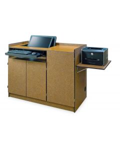 Multimedia Podium with side shelf Concealed Monitor Mount  keyboard tray and three locking doors in laminate and pvc edge