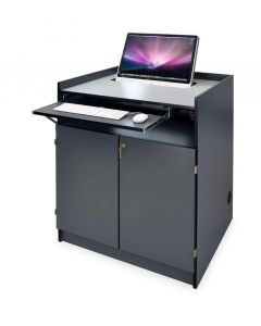 Semi Recessed Multimedia Podium for iMac and All-In-One Computer in laminate with keyboard tray and locking bay storage