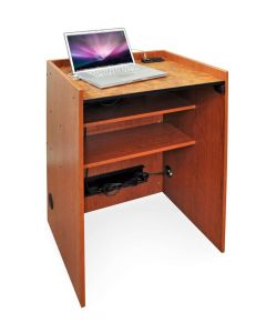 Podium Lectern with laptop computer with power and data ports in wood grain laminate