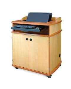 """Multimedia Podium 40"""" wide maple cabinet with concealed monitor mount keyboard tray and locking casters"""