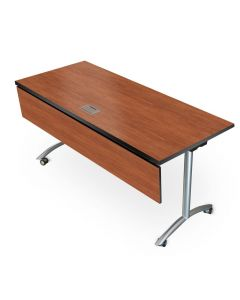 One Nesta Flip Top Laptop table with laminate finish pvc edge and silver legs with casters for 2 people