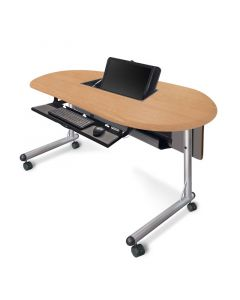 Teacher's table with concealed monitor mount keyboard tray and  casters