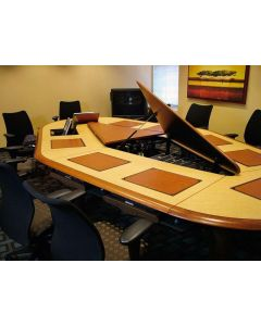 Conference table for 10 users with concealed monitor mounts cpu storage with lids in wood veneer and wood edge