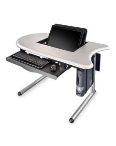 Computer table with right concave curved end opened concealed monitor mount keyboard try cpu holder and steel legs