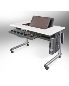 Horizon Line Computer Table for one person with keyboard tray and CPU holder