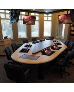 Conference table for 10 users with concealed monitor mounts and thermofoil finish