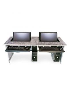Laminate top metal base computer desk with recessed monitor mounts
