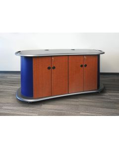 """Laminate Printer cabinet with 4 doors thermofoil top wire management adjustable shelves casters 72""""w x 24""""d x 36""""h"""