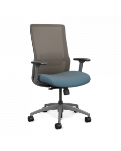 Highback Chair mesh back and Frame color Fog  fabric seat color Ocean