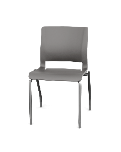 Plastic Four Leg Side Chair with grey pastic shell and silver legs with glides