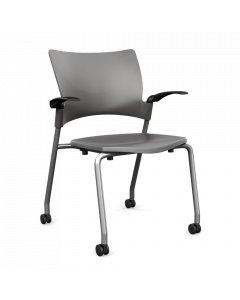 Stackable Four Leg Side Chair with fixed arms plastic shell and casters
