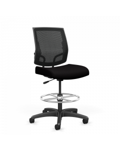 Focus Midback Work Stool Mesh Back adjustable lumbar support foot ring and Carpet Casters Front view