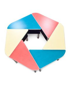 Red  Blue and Yellow Hexagonal Active Learning table