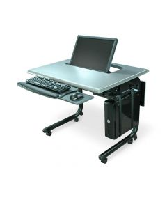 HorizonLine Series Single Monitor Lift Table for one person with recessed articulating monitor mount