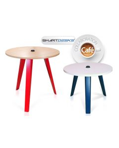 Smartdesks collaboration cafe tables with round tops