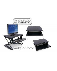Height Adj Sit-to-Stand Desktop Riser w/ Keyboard Tray