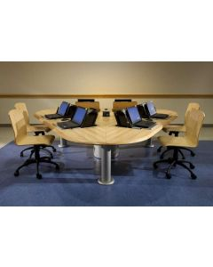 Computer conference table with wood edge and concealed monitor mounts for laptops and wood task chairs
