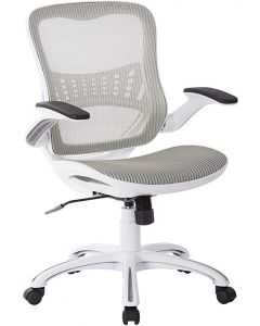 White mesh office chair with casters