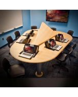 Conference table for 5 to 7 users with concealed monitor mounts and cpu storage with hinged lid in thermofoil finish